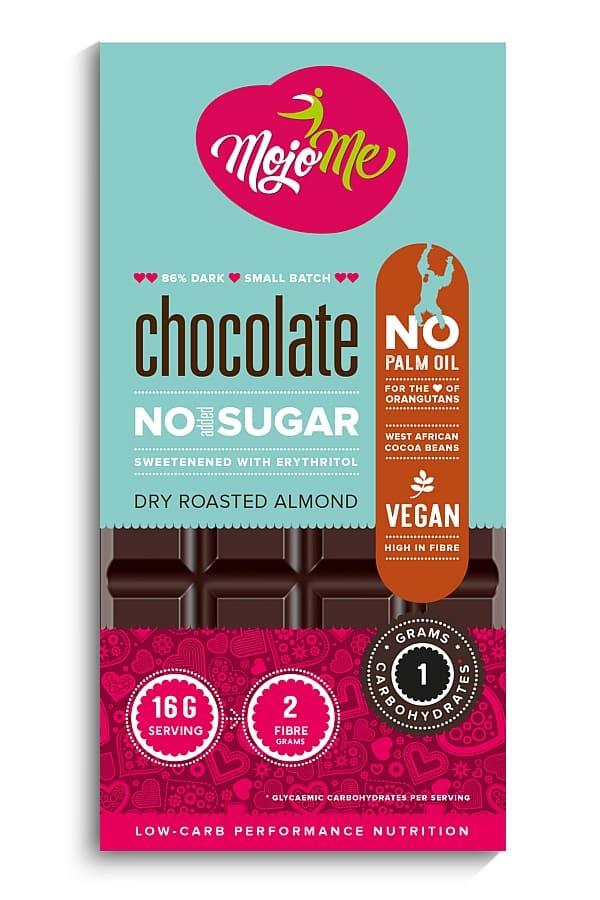 MojoMe Sugar-Free Vegan Dark Chocolate (Dry Roasted Almond)
