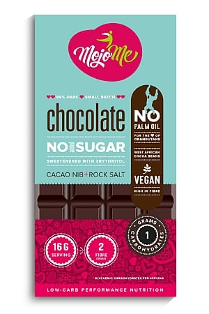 MojoMe Sugar Free Vegan Dark Chocolate (Cacao Nib & Salt)